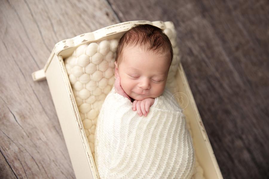 oro valley newborn baby poses in bucket