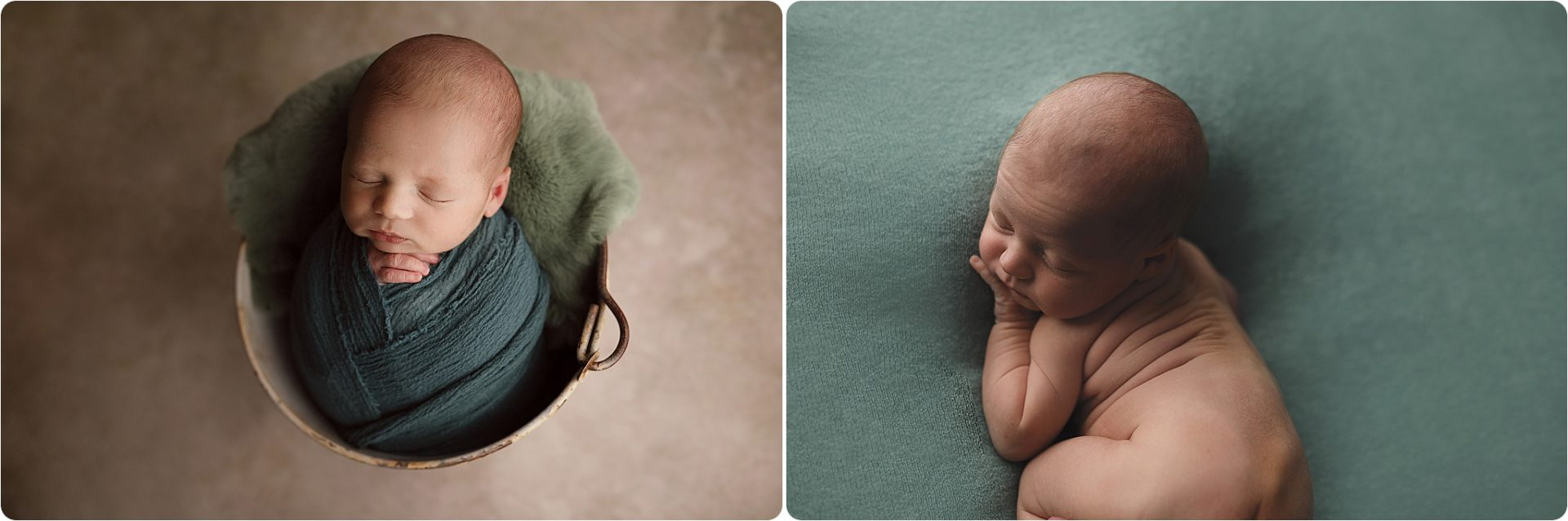 tucson newborn baby poses in bucket