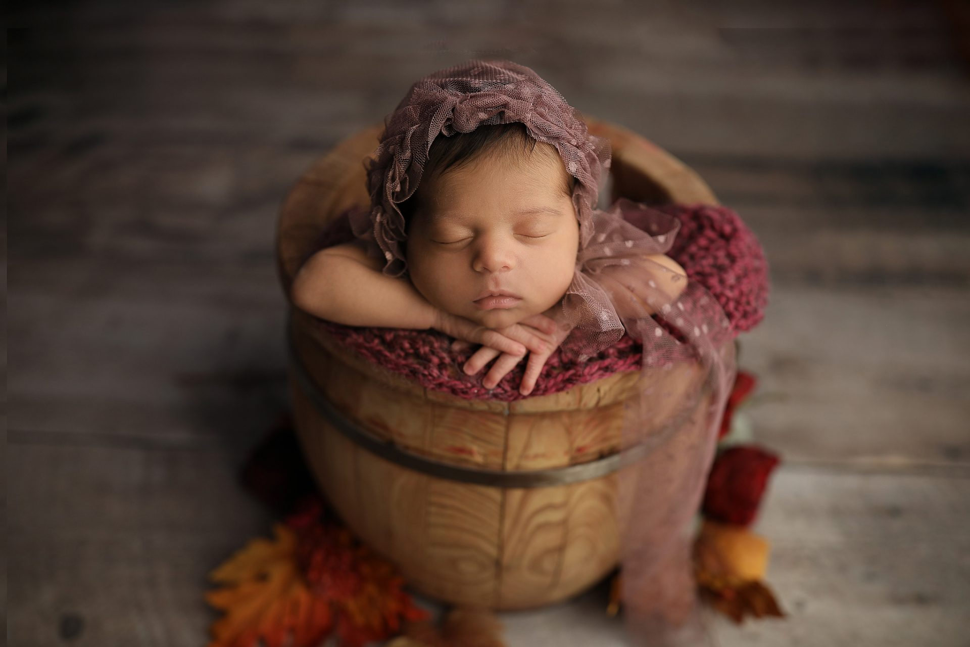 Tucson Fall leaves newborn pictures